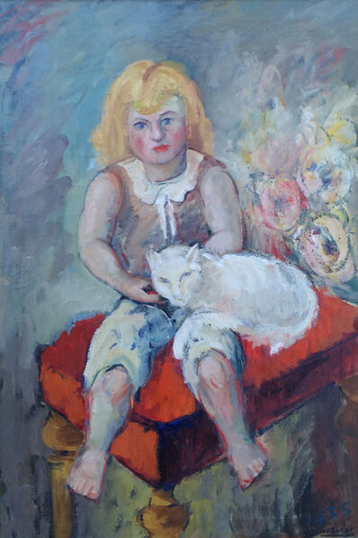 Hans Burkhardt, 'Girl with Cat', 1935