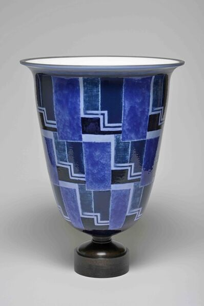 Sèvres Porcelain Manufactory, 'Ruhlmann N°2 Vase (decor of Line's Blue Checkerboard 34-32 01-2) ', 1932