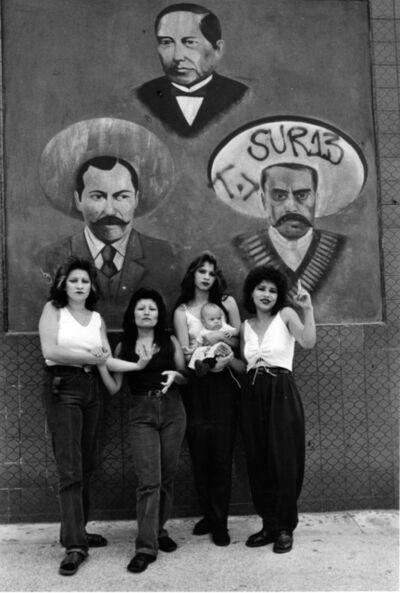 Graciela Iturbide, 'Cholas I (con Zapata y Villa), White Fence, East L.A.', 1986