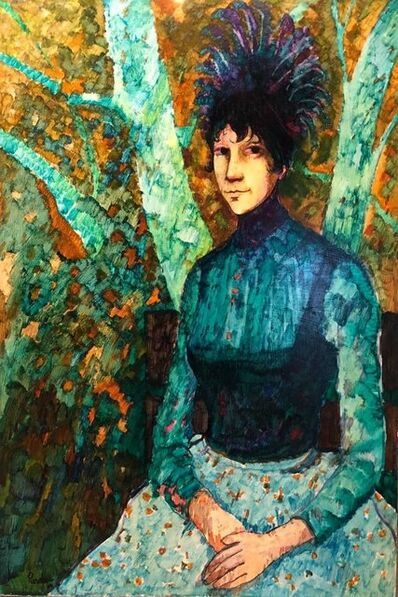 Donald Roy Purdy, 'Modernist WILD THING Woman in Forest Oil Painting', 20th Century