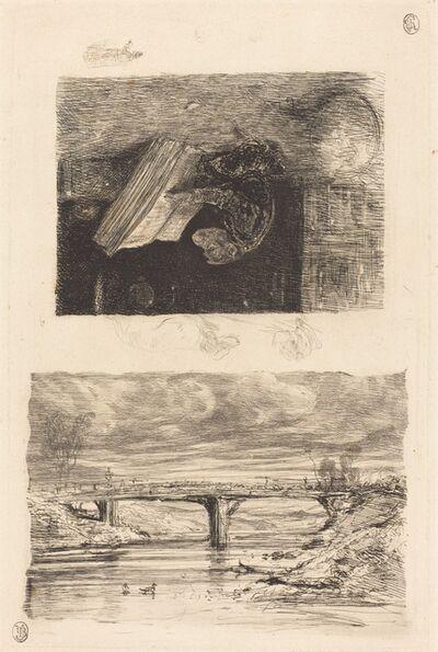 Alexandre-Gabriel Decamps, 'River Landscape with a Bridge; Monkey Paging through a Book', 1830/1835