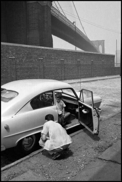 Erich Hartmann, 'Father and son on streets under the Brooklyn Bridge. New York City, USA.', 1955