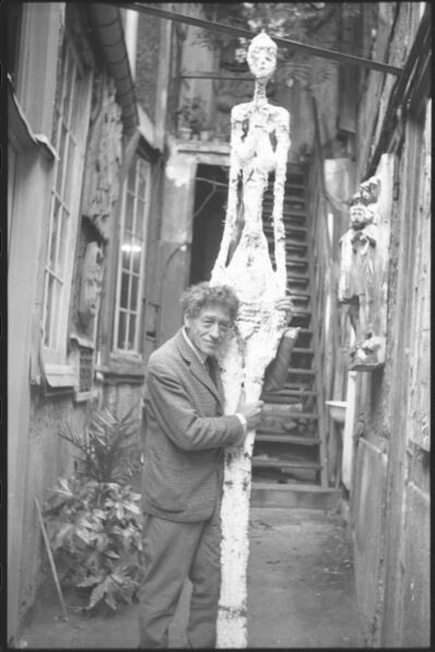 Annette Giacometti, 'Alberto Giacometti with Tall Woman IV in the Courtyard of his Studio', 1960