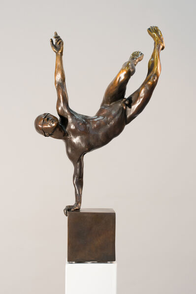 WW Hung, 'Yearning 1/9 - strongly posed male nude bronze figure statuette', 2018