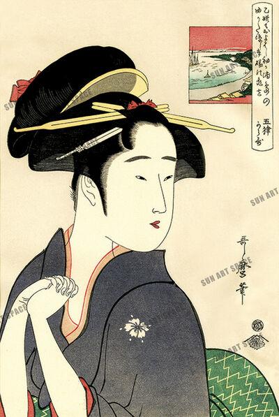 Kitagawa Utamaro, 'The geisha Kamekichi of Sodegaura', Kansei period