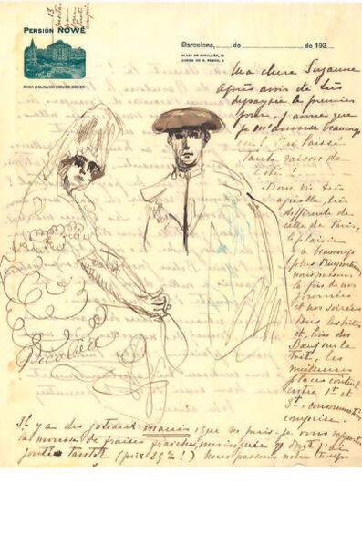 Francis Picabia, 'Untitled (letter-drawing; Espagnole and Toreador)', 1922