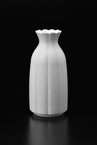 Manji Inoue, 'Engraved Hakuji (white porcelain) Chrysanthemum Vase 01', 2019