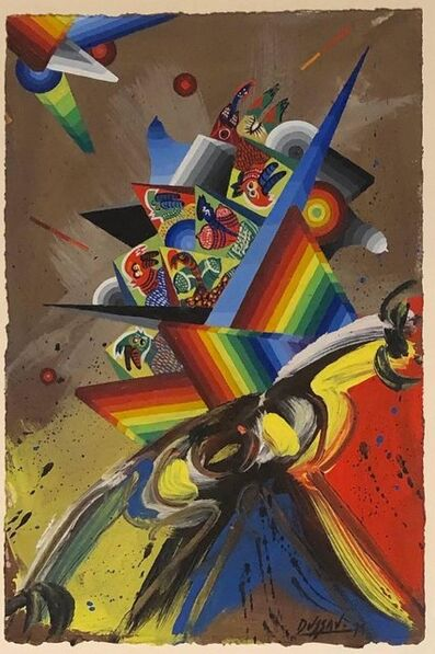 Georges Dussau, 'French Surrealist Colorful Futurist Abstract Painting Composition I', 20th Century