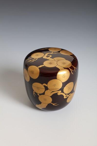 Ippyōsai VII Eizō, 'Tea Caddy with Ancient Pine Tree (T-4388)', Showa era (1926, 89), 1980's