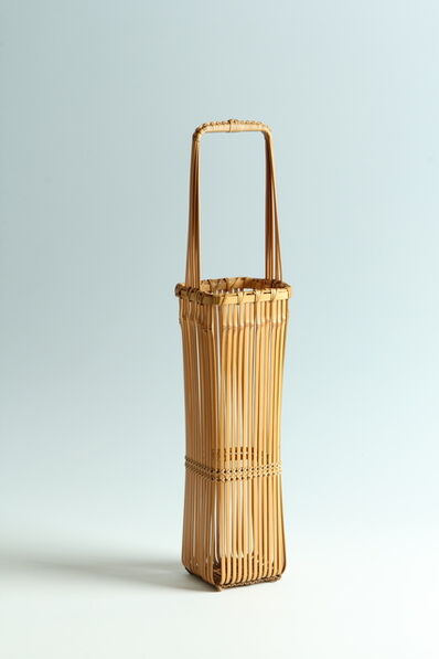 "Iizuka Shōkansai, '""A Thousand Lines"" Blond-Bamboo Handled Flower Basket (T-3956)', Showa era (1926-89) 1970s"