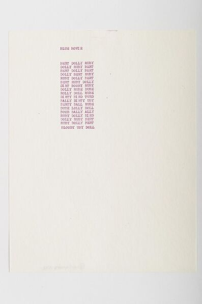 Carl Andre, 'Blue Movie', 1959