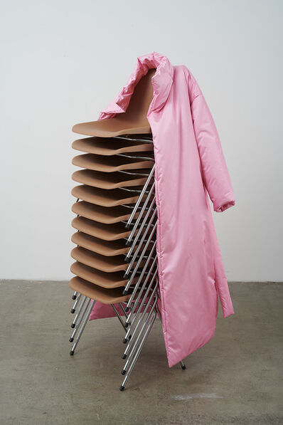 Nicole Wermers, 'Untitled Stack (brown Robin Day chairs/pink coat)', 2019