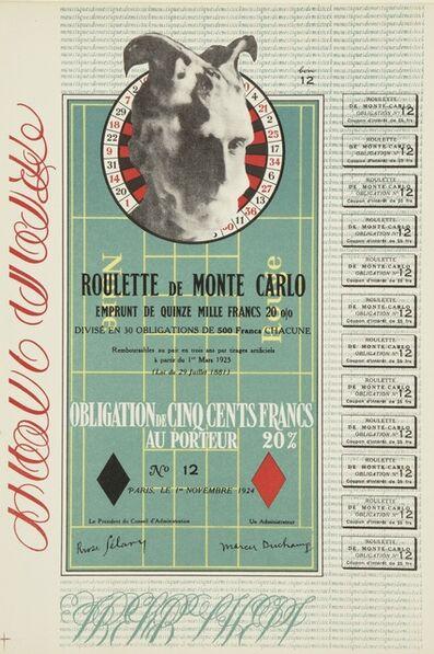 Marcel Duchamp, 'Monte Carlo Bond (Schwarz 406b)', 1924