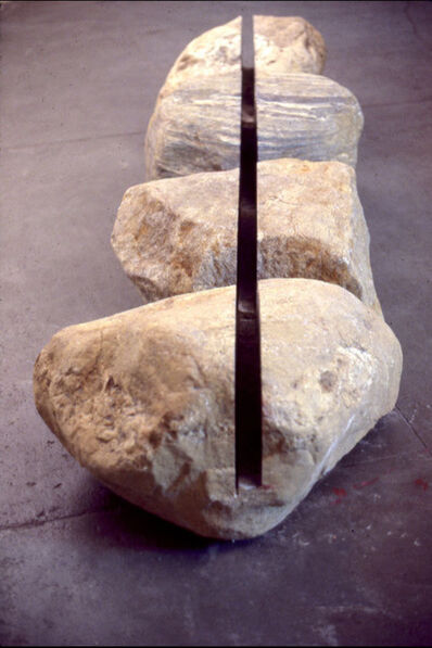 Roland Gebhardt, '4 Boulders Connected by Linear Voids', 1977