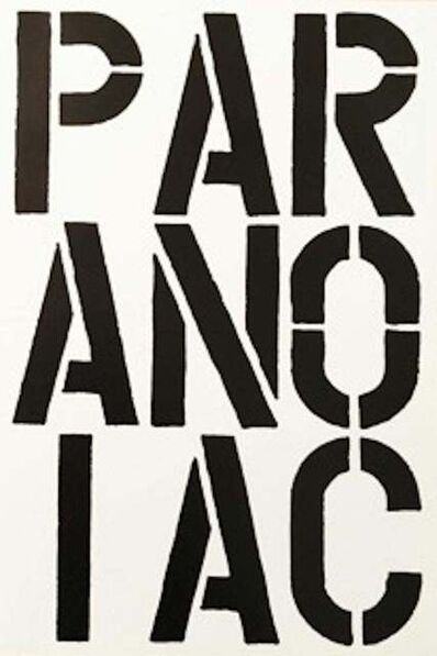 Christopher Wool, 'Paranoiac - page from the Black Book', 1989