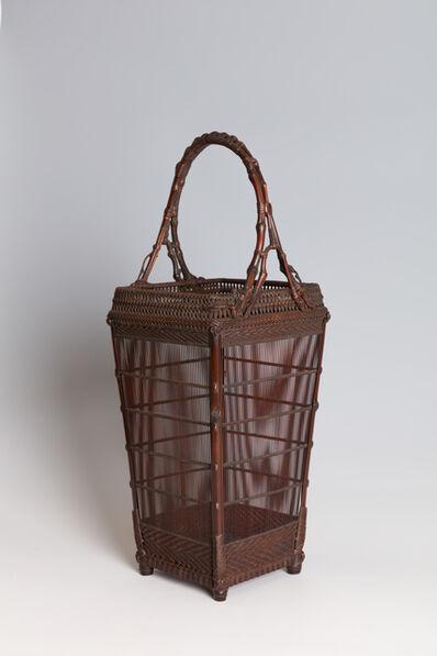 Maeda Chikubōsai I, 'Square Splayed Handled Flower Basket (T-2303)', Showa era (1926–89)-1940s