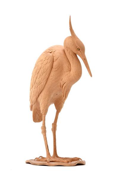 Zuiun Yamamoto, 'A White Heron Wood Sculpture  18 0502', ca. 1900~