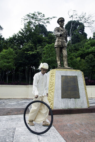 Moe Satt, 'Bicycle Tire Rolling Event from Yangon: Bogyoke's Bronze Statue', 2013