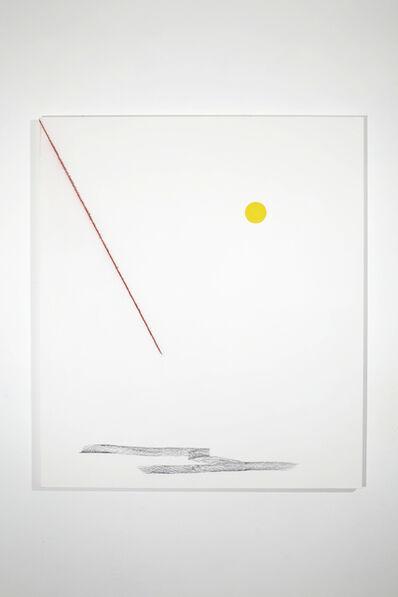 Francisco Ugarte, 'Sin Título (Óleo amarillo, tiralíneas rojo y carboncillo, sobre un bastidor de lino de 140 x 122 cm)', 2020