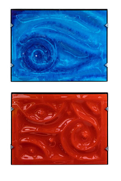 Thomas Zika, 'Pair of Glass and Resin Abstract Artworks by Zika', ca. 1990