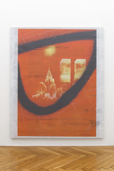 Ned Vena, 'Manhattan Skyline with Twin Towers Reflected in the Eye of Spiderman (4)', 2017