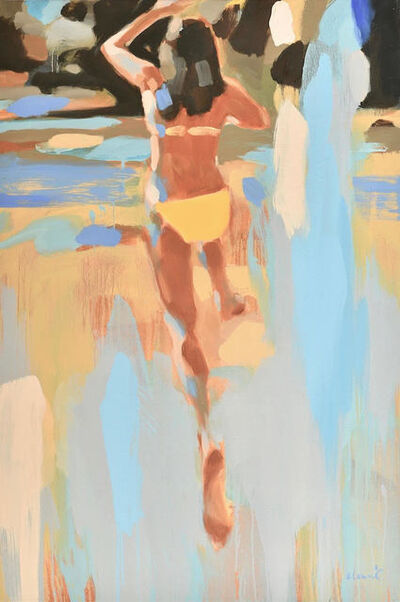 "Elizabeth Lennie, '""Golden Girl"" oil painting of a girl in a yellow bikini jumping into water', 2019"