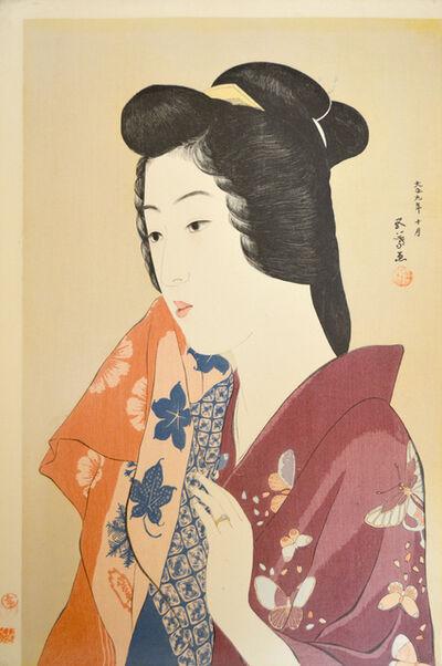 Goyo Hashiguchi, 'Woman Holding a Towel', 1920