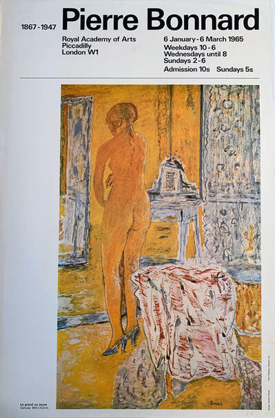 "Pierre Bonnard, 'Pierre Bonnard, Royal Academy of Arts, London, featuring ""Le Grand nu Jaune""', 1965"