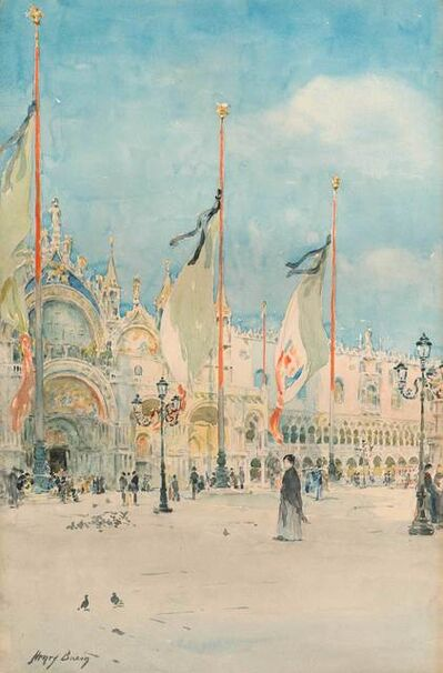 Henry Bacon, 'Flags, St. Mark's, Venice', 19th -20th Century