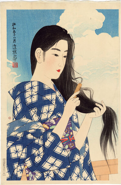 Itō Shinsui, 'After Washing Her Hair', 1936