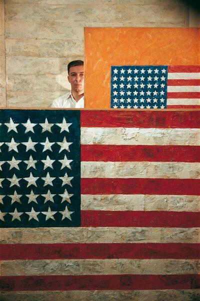 Dan Budnik, 'Jasper Johns (1930- ) with Flags, Leo Castelli Gallery, New York, 1958'