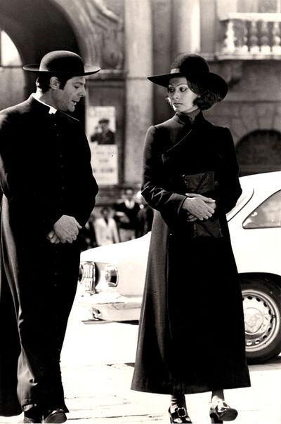 """Tazio Secchiaroli, 'Marcello Mastroianni and Sophia Loren in """"La moglie del prete""""'"""
