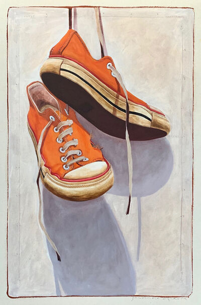 "Santiago Garcia, '""#1331"" photorealist oil painting of orange converse low tops with white background', 2019"
