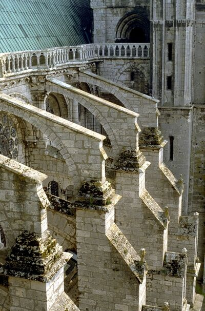 'Chartres Cathedral: exterior, detail of flying buttresses on N. side (view from N. transept)', ca. 1194-1220