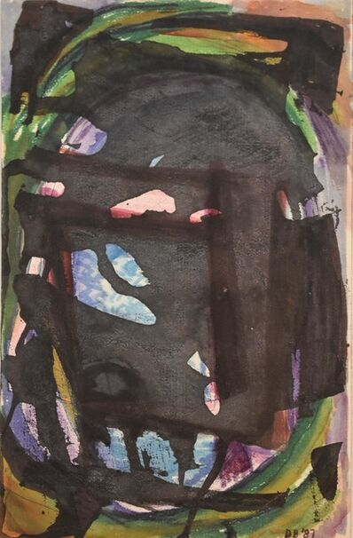 Dusti Bongé, 'Untitled (Black Abstract Form with Blue, Green, and Purple)', 1987