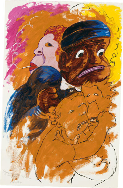 Robert Colescott, 'Popeye and Other Negroes in a Bar Fight', 1991