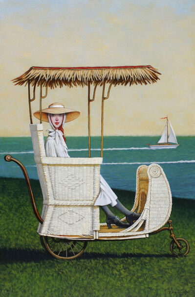 Fred Calleri, '''Regatta'' oil painting of a woman in a vintage white carriage with ocean view behind', 2019