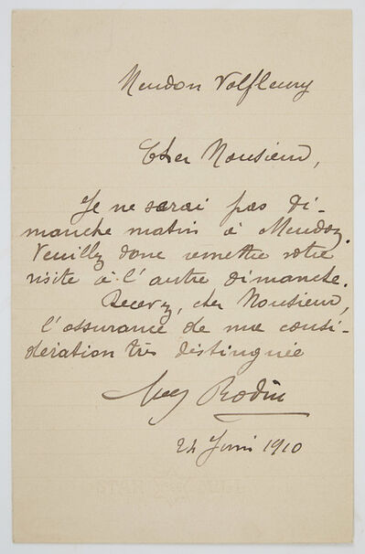 Auguste Rodin, 'Autograph note signed', 1910
