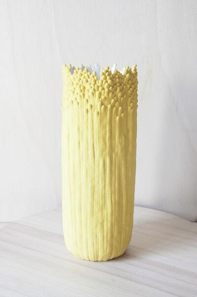 Cécile Bichon, 'Vase ascensionnel floral L jaune sablé au cœur blanc ', 2019