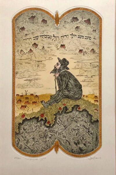 "Eugene Abeshaus, '""Jewish Shtetl Wanderer"" Post Soviet Judaica Etching Hand Colored', 20th Century"