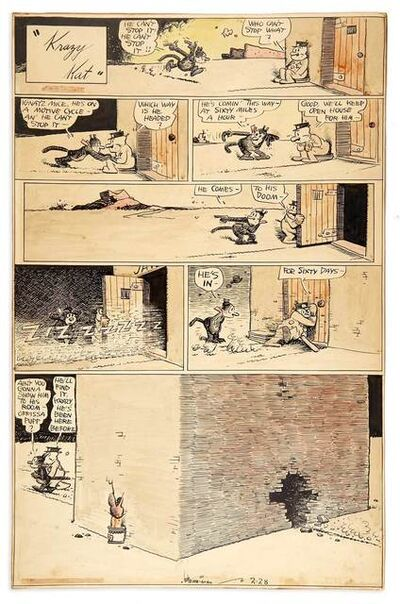 George Herriman, 'Krazy Kat [Ignatz on a Motorcycle]'