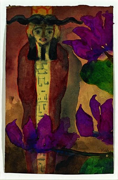 Emil Nolde, 'Ägyptische Figur mit rotvioletten Blüten', 1911-1912