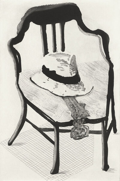 David Hockney, 'Panama Hat with a Bow Tie on a Chair', 1998