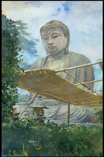 John La Farge, 'The Great Statue of Amida Buddha at Kamakura, Known as the Daibutsu, from the Priest's Garden', 1887