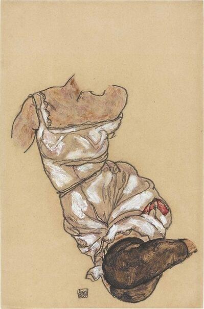 Egon Schiele, 'Weiblicher Torso in Unterwäsche und schwarzen Strümpfen', 1917
