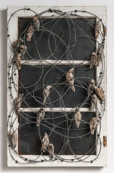 Elizabeth Jordan, 'Window Frame with Birds & Barbwire: 'Wren Day'', 2021