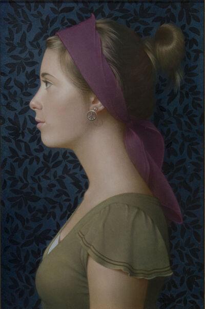 Koo Schadler, 'Girl in Profile, Purple Headband'