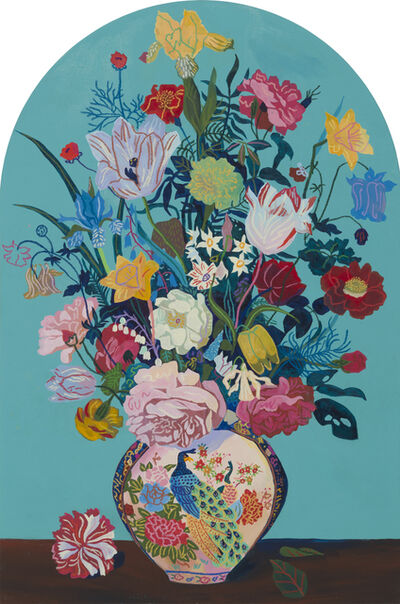 Andy Dixon, 'Teal Bouquet (Gravestone)', 2018