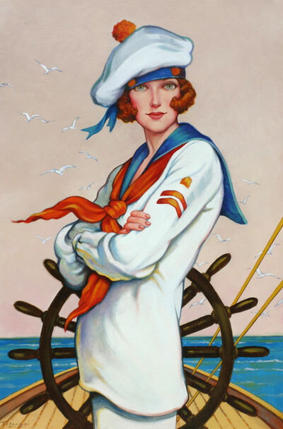"Fred Calleri, '""The Helm"" oil painting of a red head female sailor in on a sailboat', 2020"