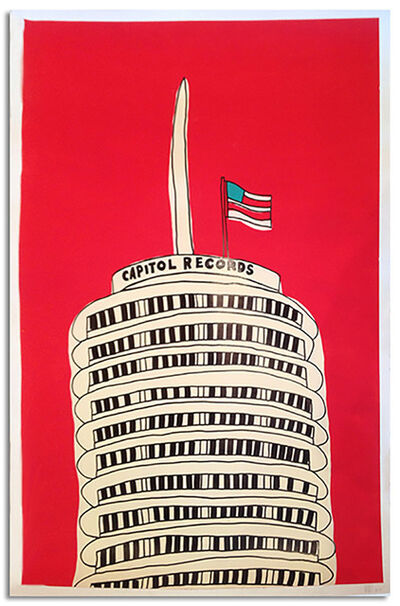 Marz Junior, 'LA Capitol Records Bldg-red vertical framed', 2015